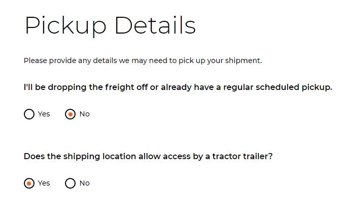pickup details